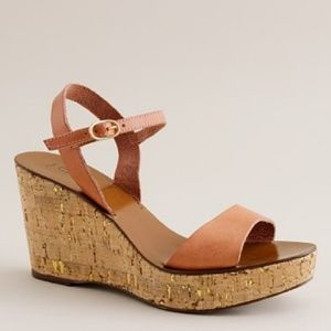 J. Crew Leather Cork Wedge